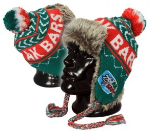 "AK Bars Kazan KHL Chullo Ski Peruvian style Hat with Pom and faux fur, ""Errea Style 3"""