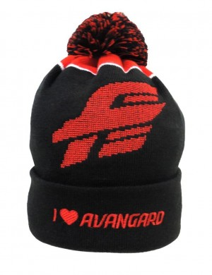 "HC Avangard Omsk Beanie Hat ""Super Fan"" with pom, black/red"
