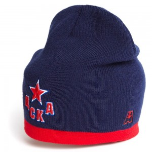 HC CSKA Moscow KHL knitted beanie hat with logo, navy w red stripe