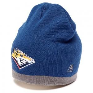 HC Metallurg Magnitogorsk KHL knitted beanie hat with logo, navy w gray stripe, size L/XL