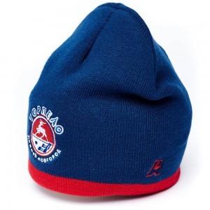 HC Torpedo Nizhny Novgorod KHL knitted beanie hat with logo,navy w red stripe